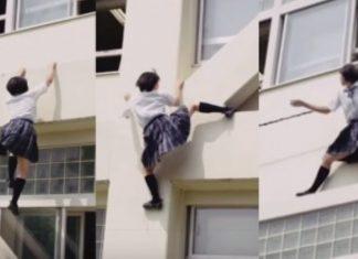 Parkour schoolgirl