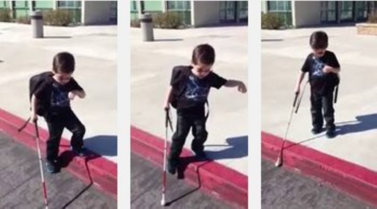 4 Year Old Blind Kid Uses His Cane To Find The Curb For The First Time!