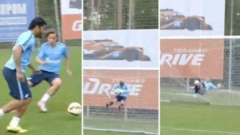 Brazilian Soccer Player 'Hulk' Hits Shot That Sends 'Keeper Flying Through His Own Net!