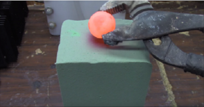 When You Put A Red Hot Metal Ball On Some Floral Foam, Something Amazing Happens!