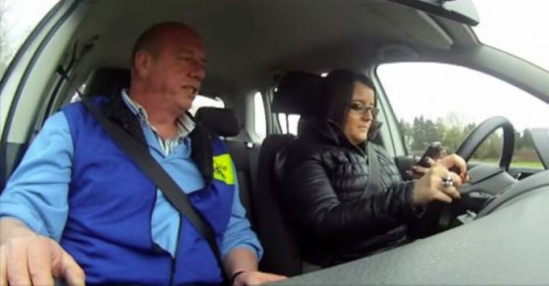 She's Texting During Her Driving Test… Just Watch What The Examiner Does!