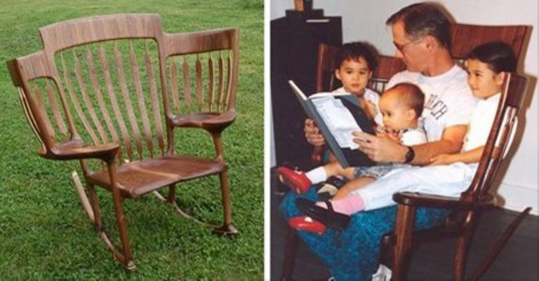 To Fit All His Kids On His Knee At Once, This Dad Built a Special '3 Kid StoryTime Chair!