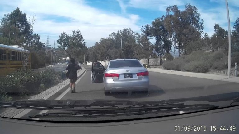 BIZARRE! Woman Jumps Out Of Moving Car, Leaving It Roll And Crash Into Traffic!