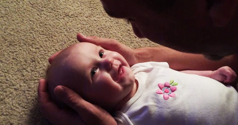 Baby Can't Contain Herself When Daddy Sings Her A Lullaby