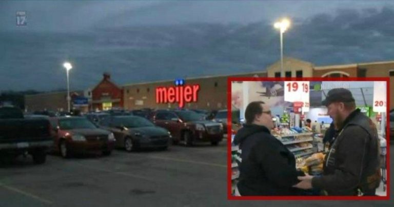 She's Creeped Out By The Biker Stalking Her In Store… When He Taps Her Shoulder? SHOCK!