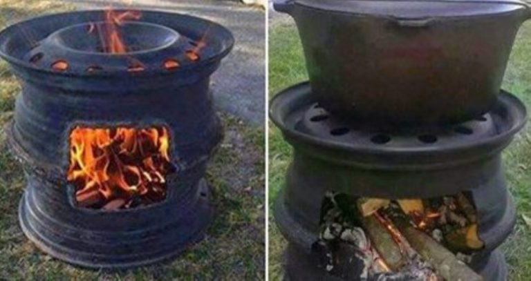 How To Make A Fire Pit BBQ Out Of Old Car Rims!