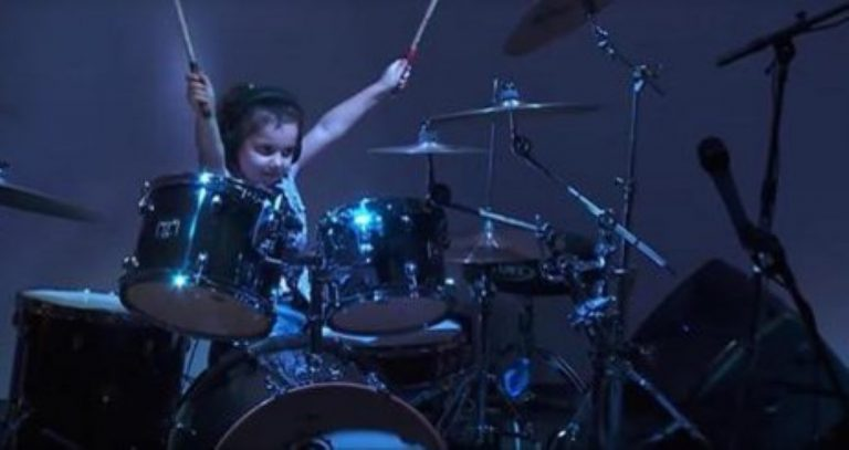 Cute 5 Year-Old Girl Sits At The Drums… But When The Song Starts? WOW!