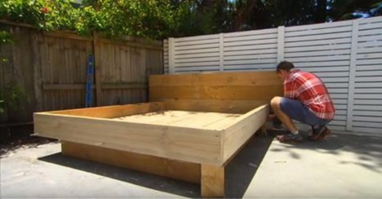 He Builds A Bed For The Back Yard… But The Mattress? Weirdly Genius!