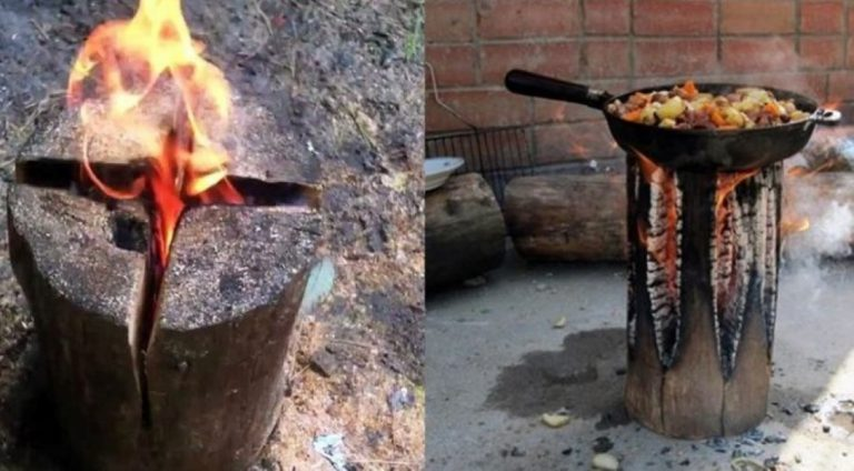 How To Make Your Own DIY All Night Campfire with Just ONE Log!