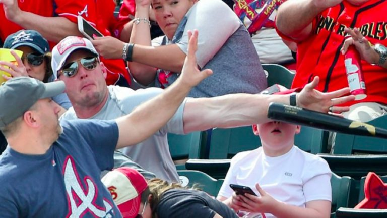 Hero Dad Saves Son After Baseball Bat Flies Into The Crowd