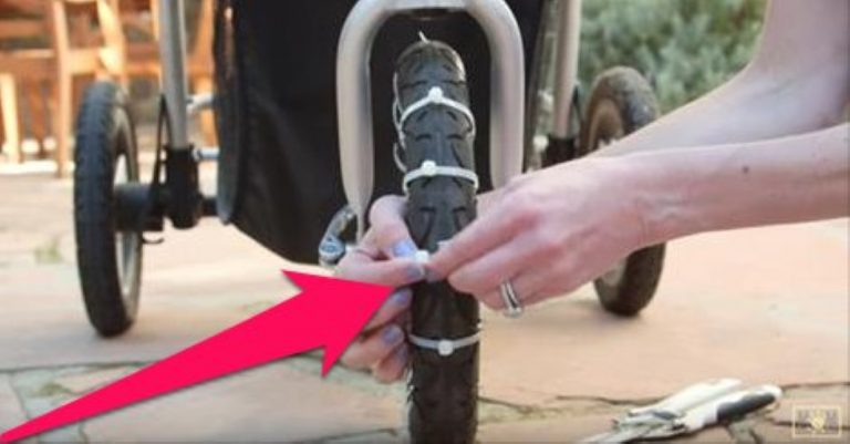 She Attaches Zip Ties To The Wheel Of Her Stroller… Why? Super Clever!