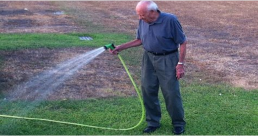 An Elderly Man Turns On The Hose. Now Take A Look To The Left … OMG … I'm In Tears