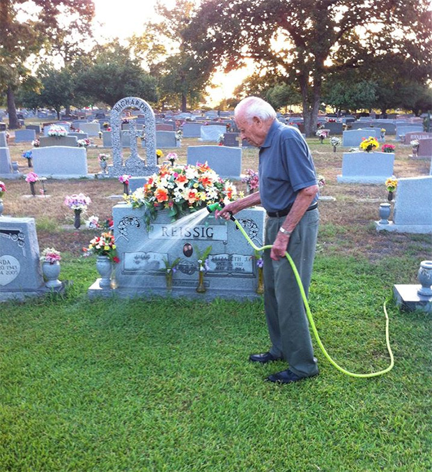 man waters wife's grave every day